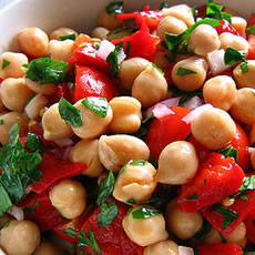 Chickpea and Tomato Salad with Fresh Basil Photo