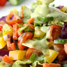 Rainbow Salad with Avocado Basil Dressing Photo