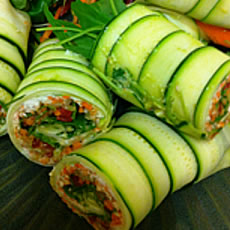 Raw Zucchini, Carrot, and Cashew Salad Rolls Photo